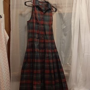 Plaid School Girl Pleated Button Down Vintage Dres